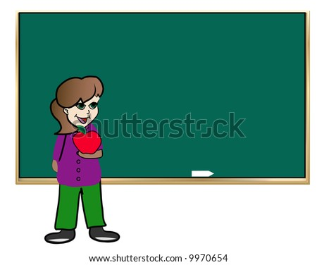 female student standing in front of chalkboard holding apple - vector
