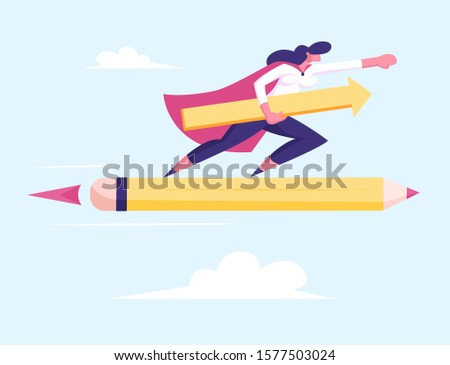 Female Superhero in Red Cloak Super Employee Girl with Arrow in Hand Flying on Huge Pen Rocket among Clouds in Sky. Business Success Leadership Professionalism Concept. Flat Vector Illustration