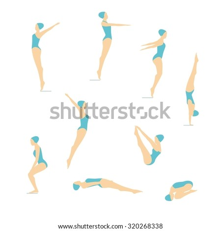 Female Swimming and Diving Color Vector images. Women\'s position diving.Elements isolated on a white background.