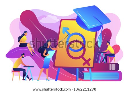 Female teacher at board giving a lesson on sexual education to students. Sex education, sexual health teaching, sex education lesson concept. Bright vibrant violet vector isolated illustration