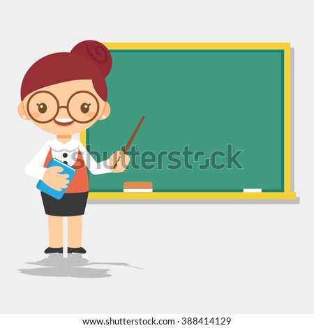 female teacher character in front of blackboard