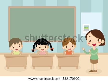 female teacher teaching kids student in classroom