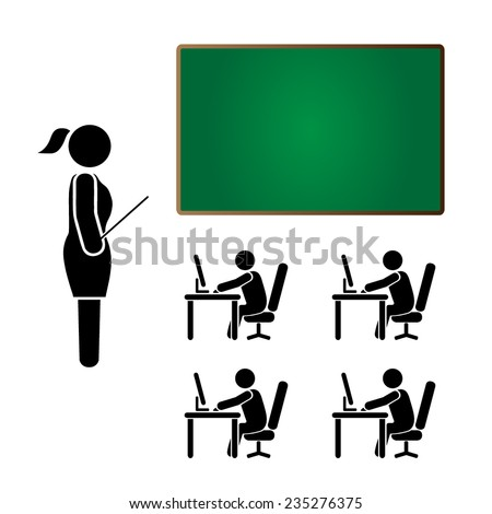 female teacher teaching sitting