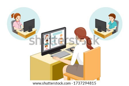 Female Teacher Teaching Student Online With Desktop Computer, Social Distancing Concept, Online Learning, Safety From Coronavirus Disease, Covid-19, Educational, Instruction, Sanitary, Healthcare