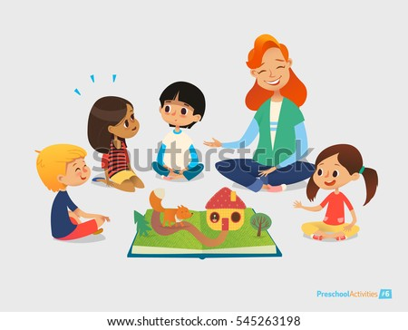 Female teacher tells fairy tales using pop-up book, children sit on floor in circle and listen to her. Preschool activities and early childhood education. Vector illustration for poster, website.