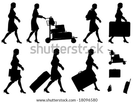 Female Traveler Silhouette Vectors