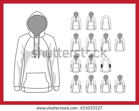 outlined blank hoodie template download free vector art stock