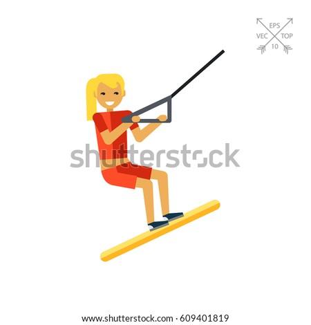 female water skier icon