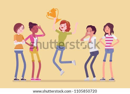 Female winner and envious friends. Girl jumping happy to win a prize, surpassed all rivals in contest or competition, other feel jealous about her achievement. Vector flat style cartoon illustration