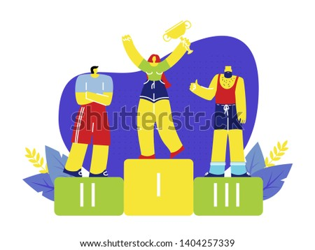 Female Winner Standing on Podium Flat Illustration. Sportsmen and Sportswoman Competitors. Young Happy Girl Holding Golden Trophy. First, Second, Third Places Sport Champions. Victory, Achievement
