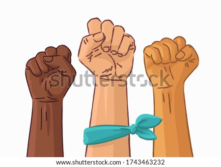 Female woman feminism protest concept. Woman Hands with her fist raised up. Girl power vector icon isolated on white background. Grunge hand drawn illustration.
