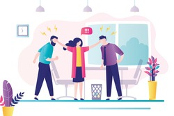 Female worker stops conflict between two angry male employees. Stress, emotions management at work. Conflict situation in office between workers. Office interior, workplace. Flat vector illustration