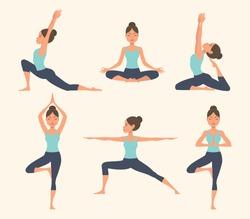 Female yoga. Vector illustration of beautiful cartoon woman in various poses of yoga.