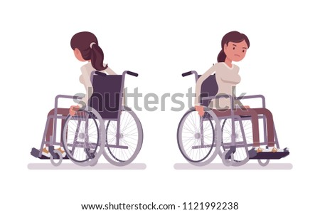 Female young wheelchair user moving manual chair. Unable to walk as a result of illness, injury, or disability. Medical concept. Vector flat style cartoon illustration, isolated, white background