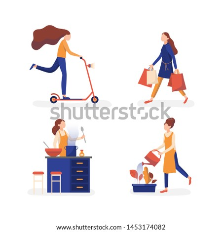 Females enjoying free time activities. Going out shopping, cooking dinner, riding scooter or gardening outdoor plants. Personal interests flat persons vector illustration collection set.
