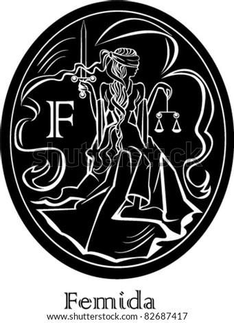 Femida - a goddess of justice - oval frame