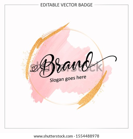 Feminine badge. Elegant watercolor background logo with round frame and gold glitter. Beautiful badge for branding and card composition design concept
