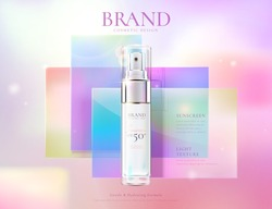 Feminine beauty product ad template, with bottle mock-up set on colorful flat square glass, 3d illustration