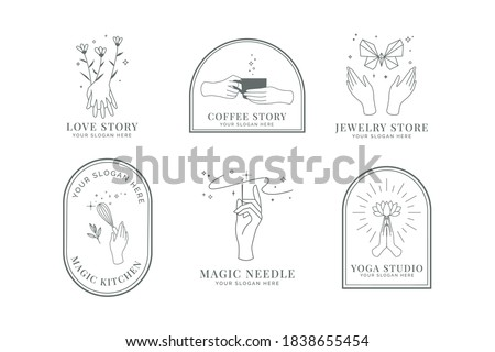 Feminine Hand Logo with flower, butterfly, cake beater, butterfly, and needle.