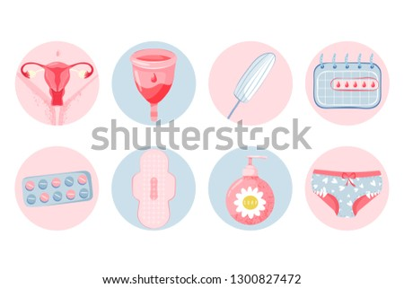Feminine hygiene set with menstrual cup, uterus, tampon, menstrual calendar, soap, panty, sanitary napkin, and pills. Menstruation concept. Vector illustration on white background.