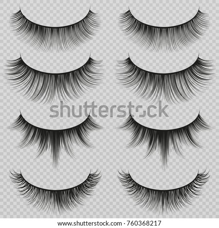 Feminine lashes vector set. Realistic false eyelashes fashion collection. Long eyelash and false femininity black eye lash illustration