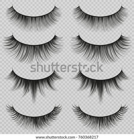 Feminine lashes vector set. Realistic false eyelashes fashion collection. Long eyelash and false femininity black eye lash illustration