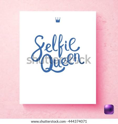 feminine pink selfie queen card