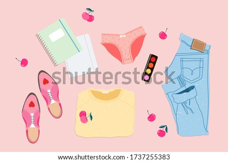 feminine summer outfit flatlay