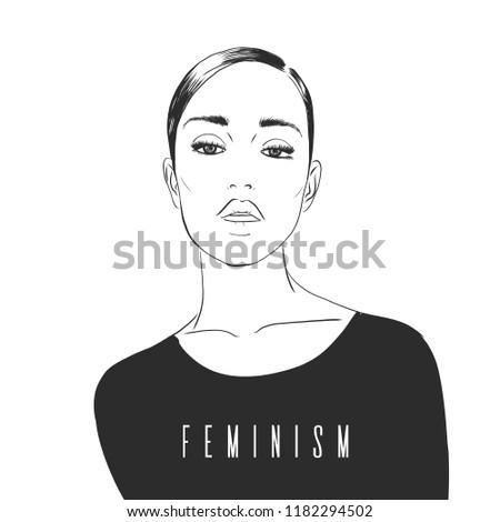 Feminism concept. Fashion illustration. Girls Power, empowered women, Feminism ideas vector Illustration. International womens day concept graphic