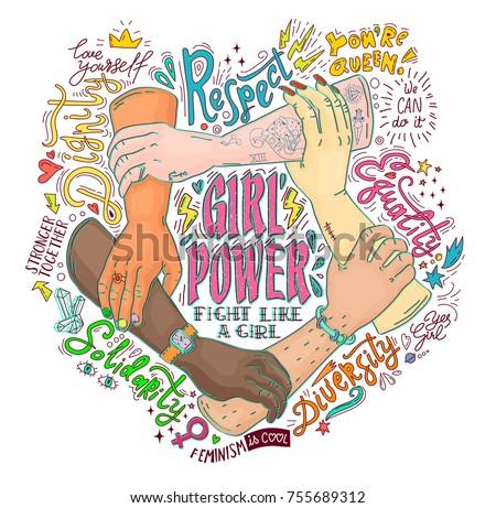 Feminism concept. Girl Power hand drawn vector illustration. Colorful illustration for poster, t-shirt, label, badge, emblem.