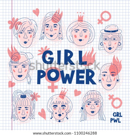 Feminism poster Girl power card, Feminists. Women's faces icons on a sheet of exercise book, Informal girls, Punk rock women. Creative hand-drawn characters. Vector Art illustration Foto stock ©