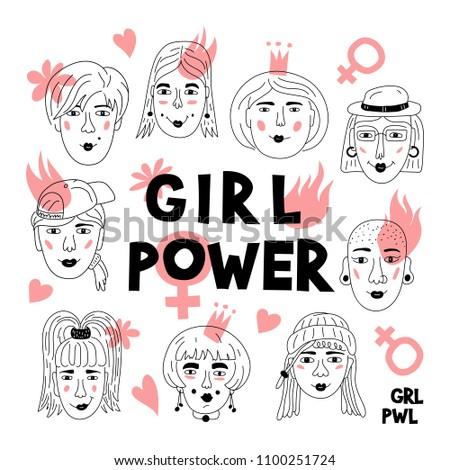 Feminism poster Girl power card. Women's faces, Informal girls, Punk rock women Feminists. Creative hand-drawn characters. Vector Art illustration Foto stock ©