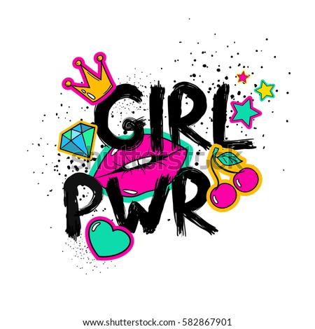 Feminism slogan with hand drawn lettering girl power. Colorful fun girly stickers, patches, pins in cartoon 80s-90s comic style.