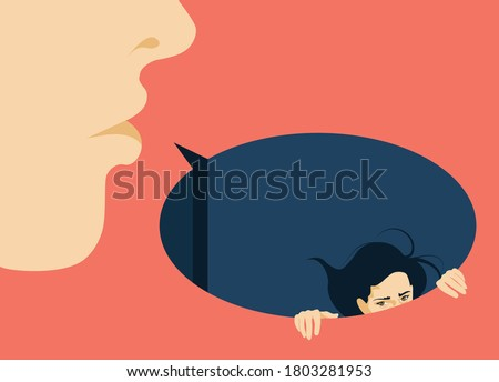 Feminism - Violence Against Women - Women Rights - Domestic Violence -woman submerged in speech bubble - man offending woman with violent words