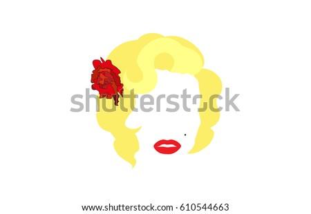 Femme fatale Marilyn, vector illustration, portrait of modern American woman