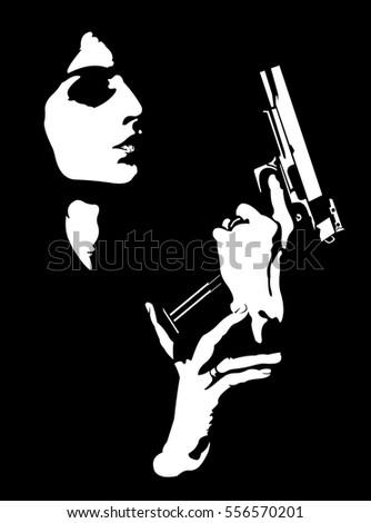 stock-vector-femme-fatale-reloading-gun-abstract-portrait-easy-editable-layered-vector-illustration