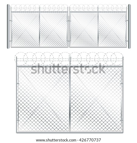 fence and gate made of metal