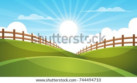 fence  cartoon landscape sun