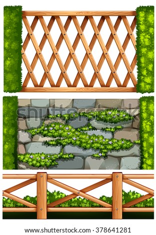 Fence design with wooden  and stone illustration