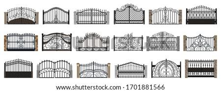 Fence gate isolated cartoon set icon. Vector cartoon set icon metal entrance. Vector illustration fence gate on white background. Stockfoto ©