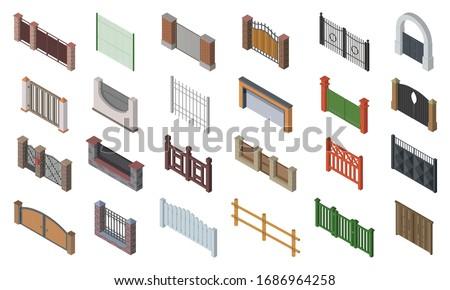 Fence gate vector isometric set icon. Isolated isometric set icon wooden gates. Vector illustration fence gate on white background.