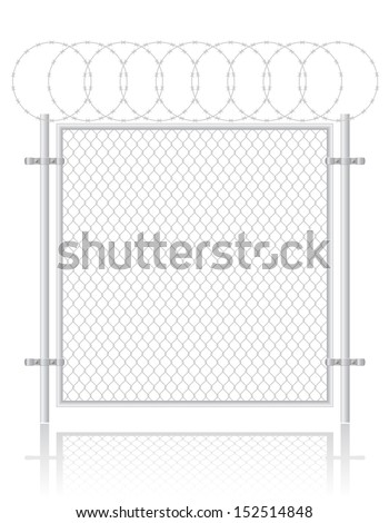 fence made of wire mesh vector
