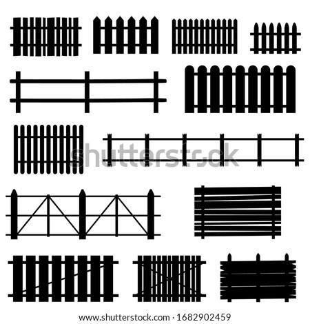 fence set art illustration on white Stockfoto ©