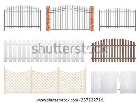 fence set on white background