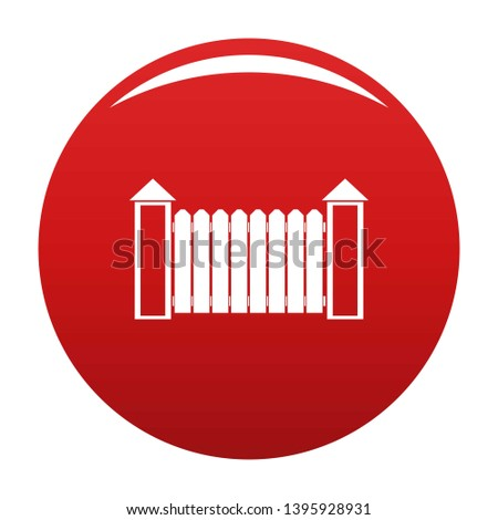 Fence with turret icon. Simple illustration of fence with turret vector icon for any design red