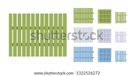 Fence wooden barrier set, home and land protection element. Decoration boundary for street or neighborhood privacy. Vector flat style cartoon illustration isolated, white background, different views