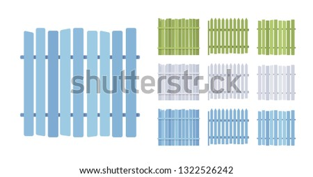 Fence wooden barrier set, home and land protection element. Outdoor boundary enclosing or bordering a field, yard. Vector flat style cartoon illustration isolated, white background, different views