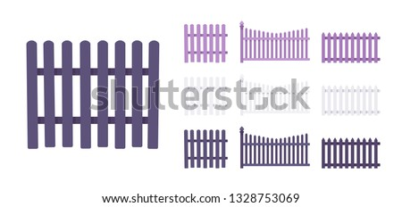 Fence wooden set, home and land protection element. Park and flowering garden beauty ornamental barrier and design. Vector flat style cartoon illustration isolated, white background, different views