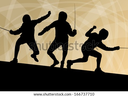 Fencing active young men sword fighting sport silhouettes vector abstract background illustration