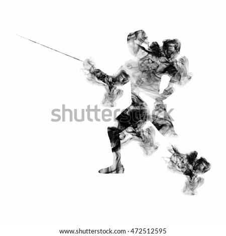 fencing athlete on white